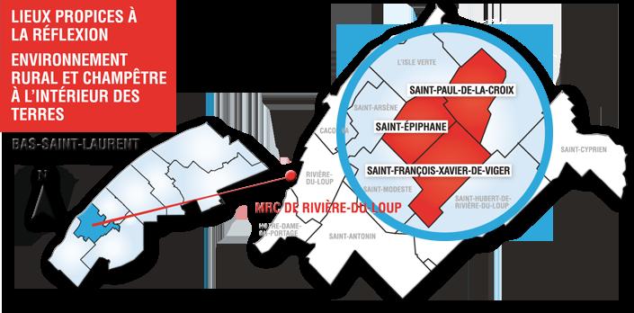 Carte des trois municipalités